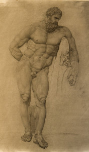 Charcoal drawing of the Farnese Hercules, Hellenistic Sculpture