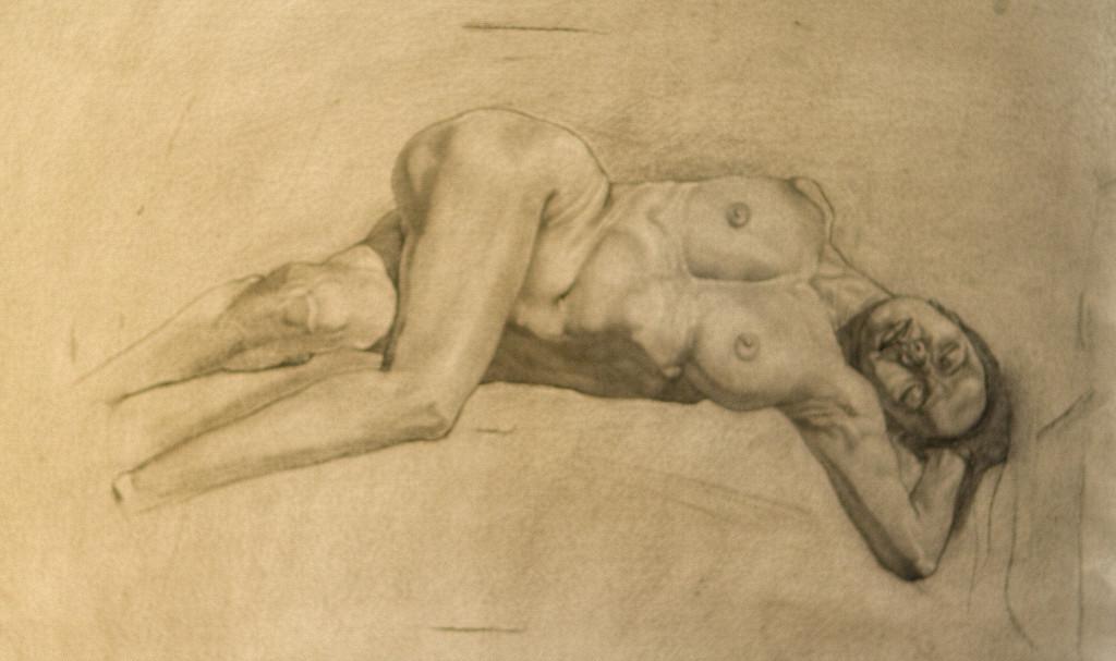 Charcoal drawing of life model, Joann