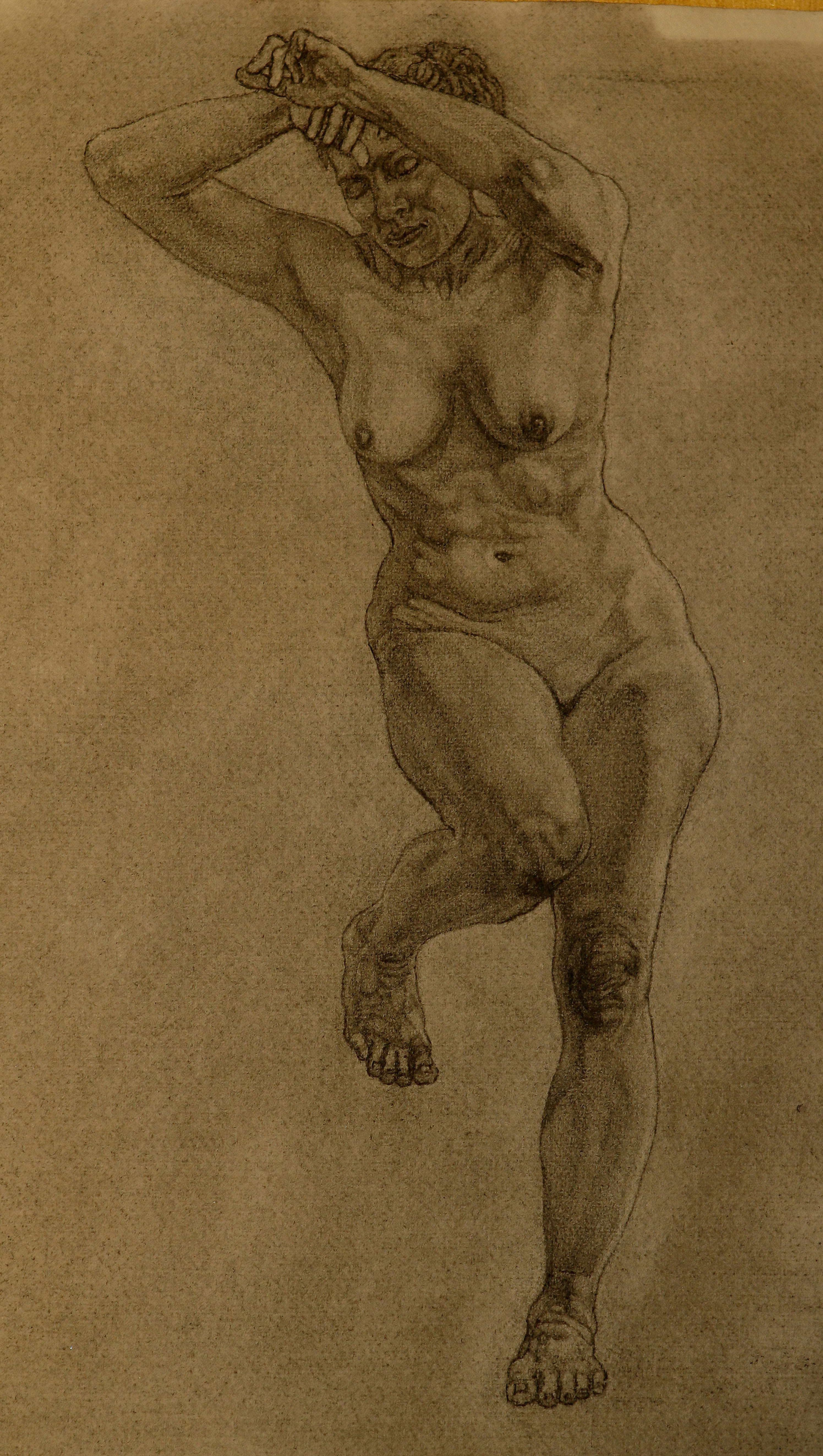 Paula, from front view, charcoal drawing from life model