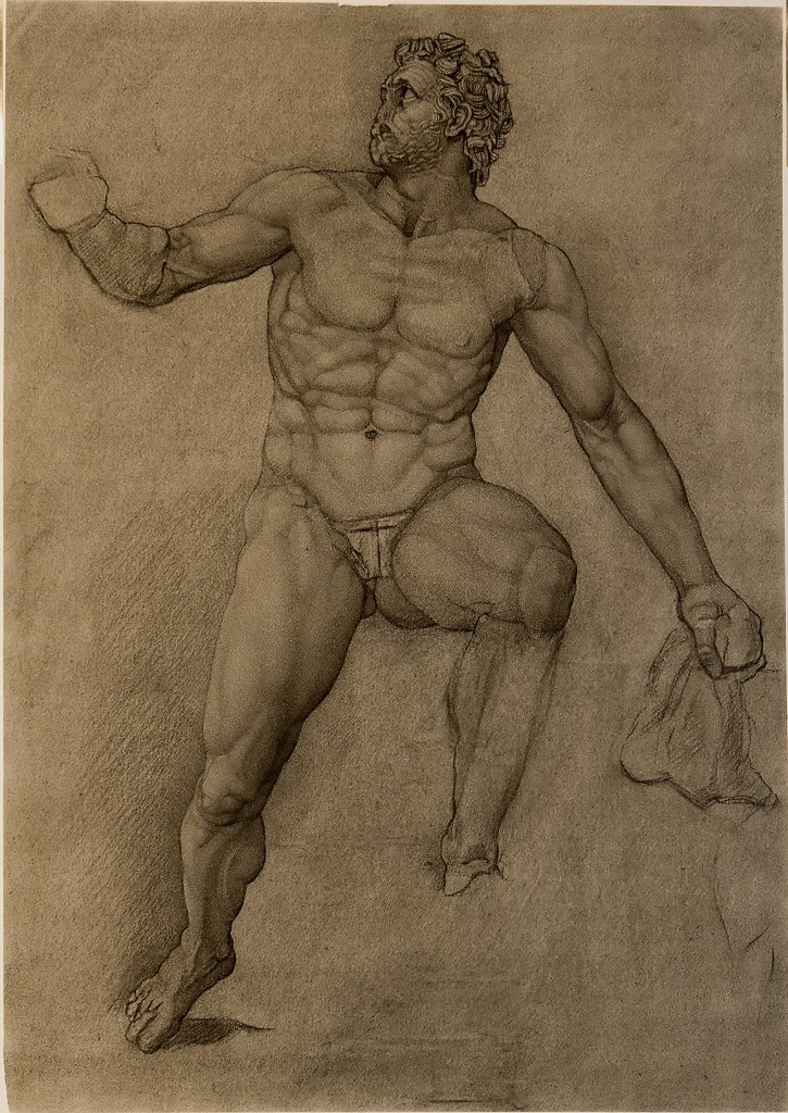 Charcoal drawing of one of the figures from the Sperlonga Polyphemus Group