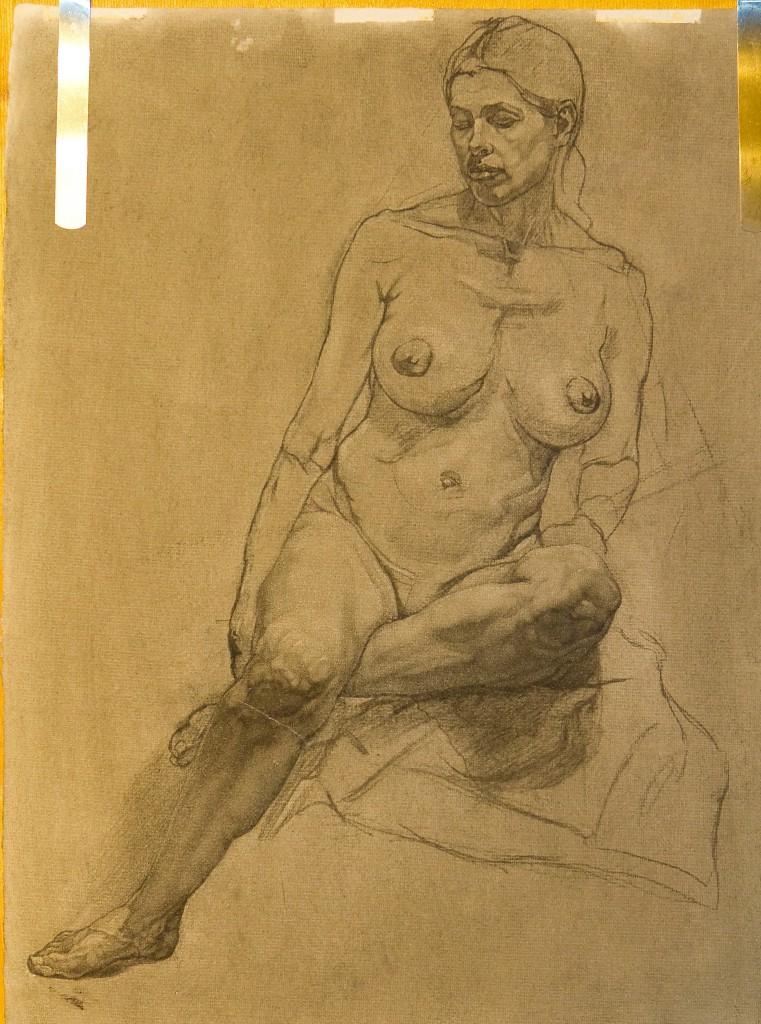 Charcoal drawing of life model, Marina