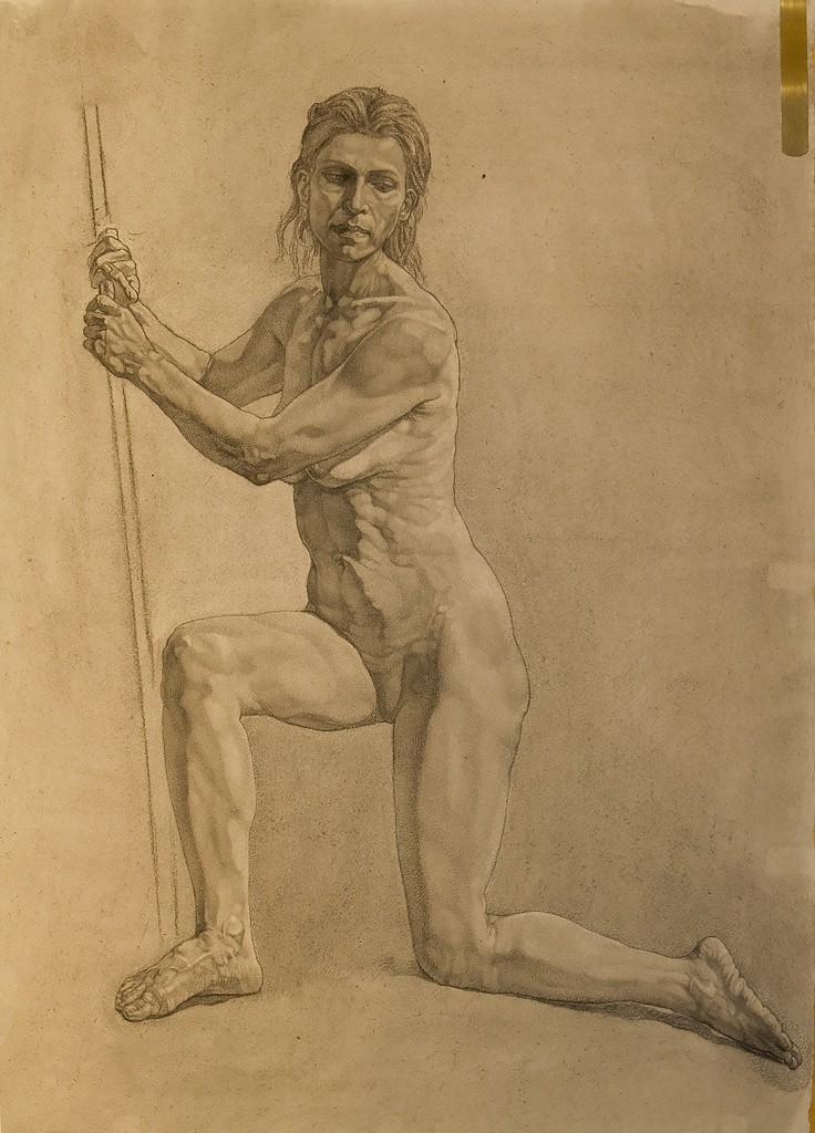 Charcoal drawing from life model, Mehrnoosh