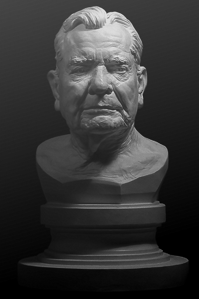 A. Gilmore Flues, sculpted from life by P. Brad Parker; plaster cast from clay; subject of portrait served as Assistant Secretary of the Treasury in the Eisenhower Administration