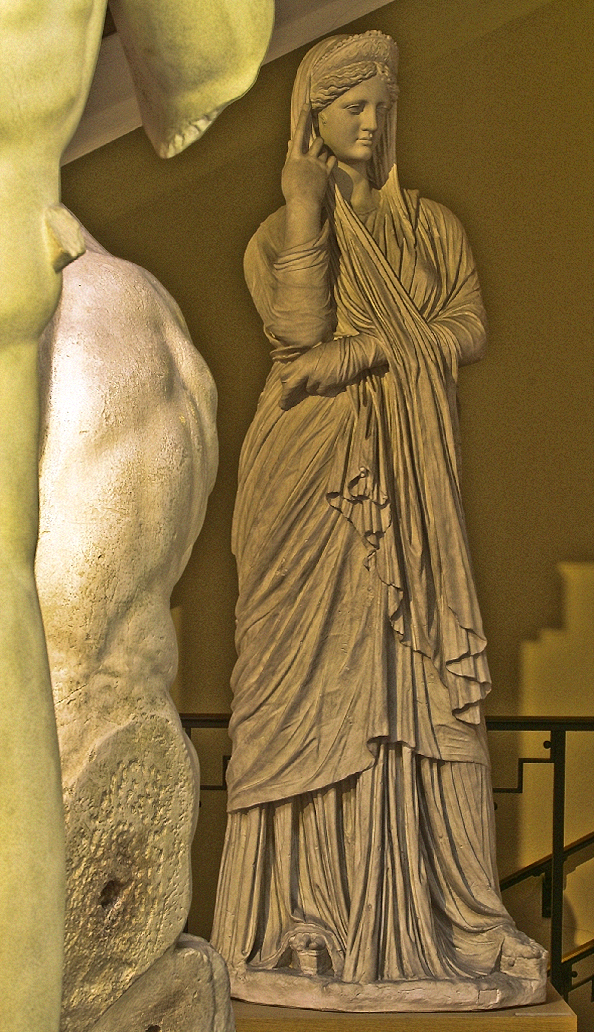 Statue of a Woman, Woman in palla, a shawl with crown worn over head and shawl under tunic, Braccio Nuovo, Vatican, Rome, 1, A