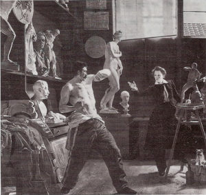 Figure 3 - Wilhelm Bendz, A sculptor works after a living model in his studio