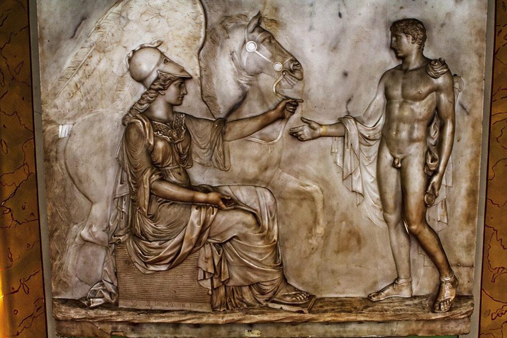 Frederich Wilhelm Eugen Doel - Minerva handing Pegasus over to Bellerophon, marble relief in Gotha, Thüringen