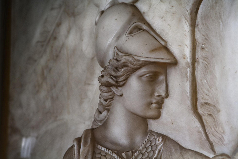 Frederich Wilhelm Eugen Doel - Minerva handing Pegasus over to Bellerophon, marble relief in Gotha,