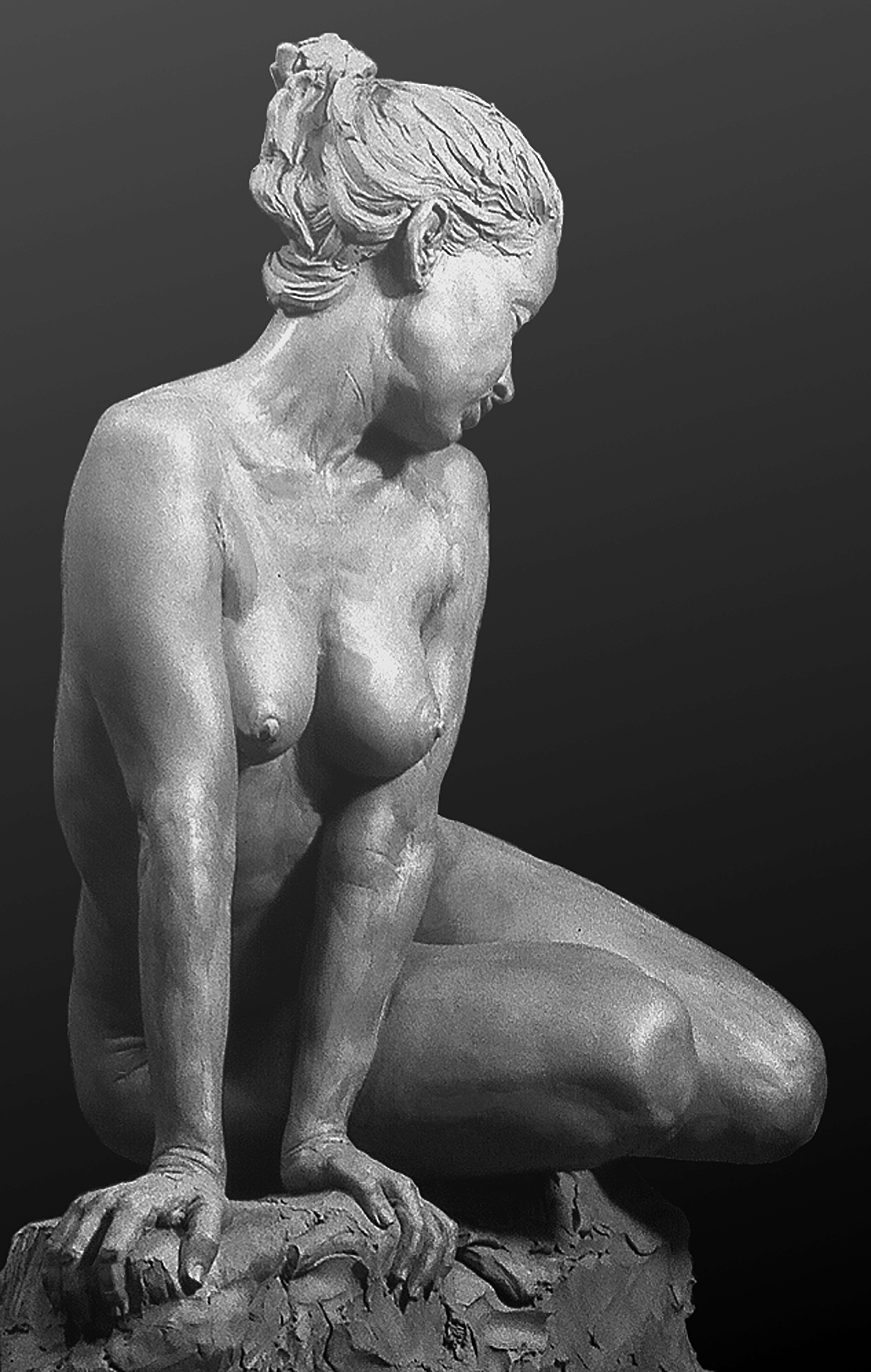 Salome -_Life Model – Lea – Right Side Front View, Clay Before Plaster Casting; sculpted from life m