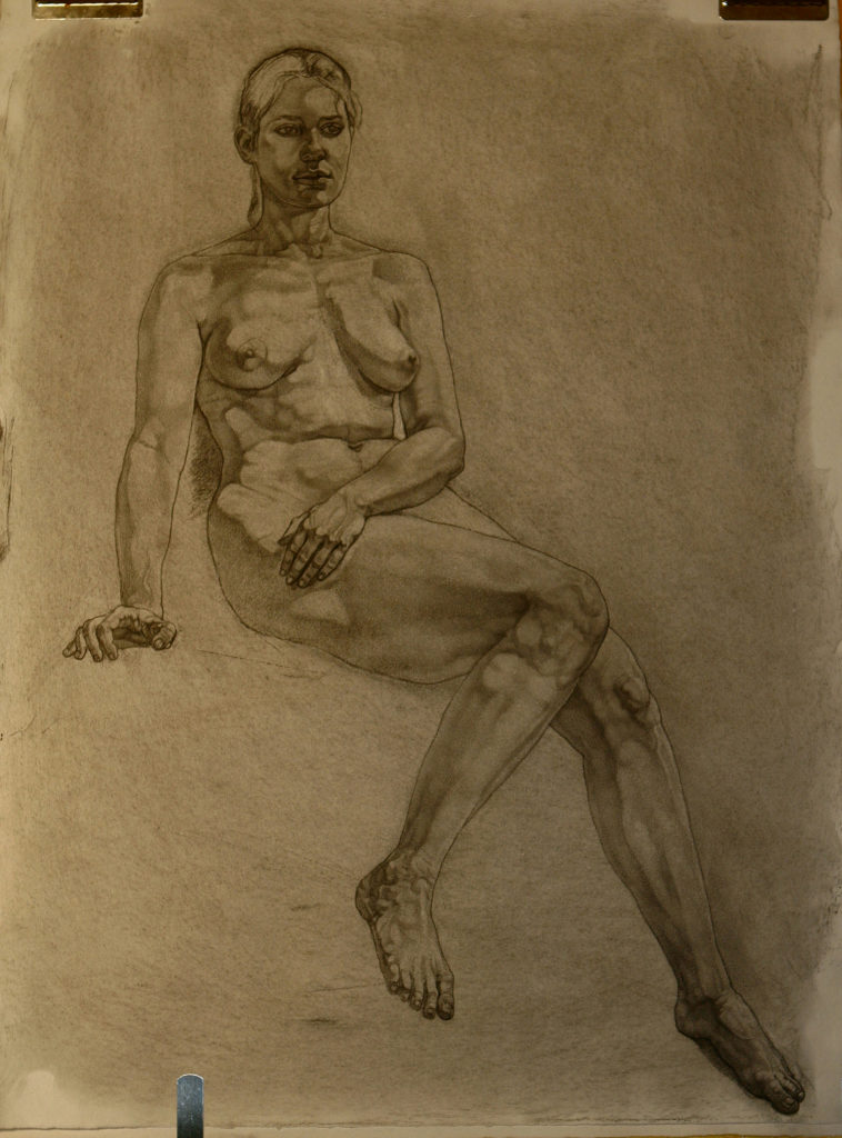 Seated Athena composition, charcoal drawing of life model Leslie by P. Brad Parker; intended for tra