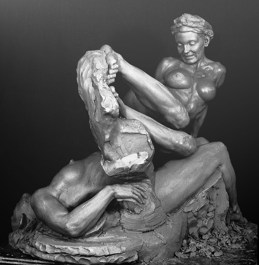 Lilith and Eve, clay sculpture prior to plaster casting; sculpted from life models by P. Brad Parker