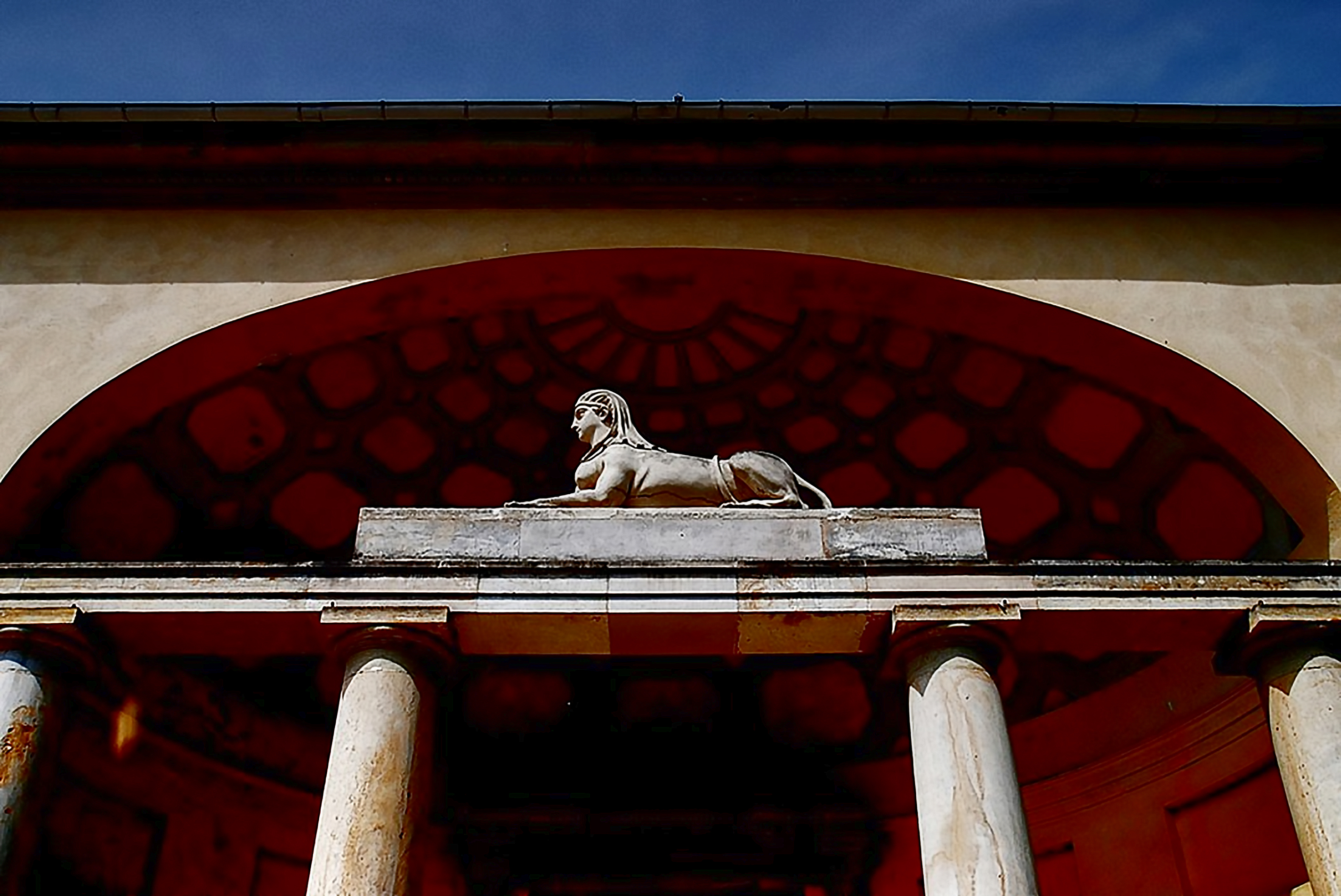 Ancient portal (Egyptian) at the Orangerie in the New Gardens in Potsdam, Johann Gottfried Schadow (