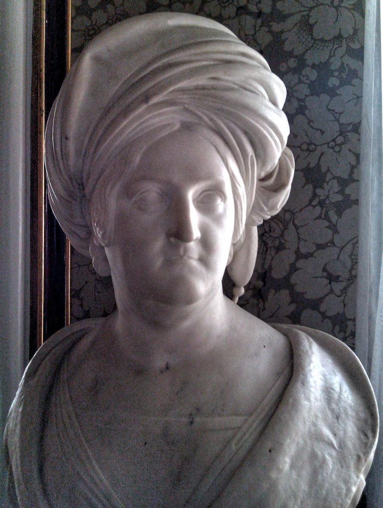 Prinsesse Charlotte Frederikke - marmor buste by Andreas Kolberg, Jægerspris Slot, Sjælland