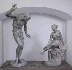 Galerie Antickeho Umeniv Hostinnem - Invitation to the Dance, plaster reconstruction of a Greco-Roman, Hellenistic sculpture group from various European museum collections of Greek sculpture, archaeologist Wilhelm Klein of Karlova University (Charles University) 19th. century reconstruction.