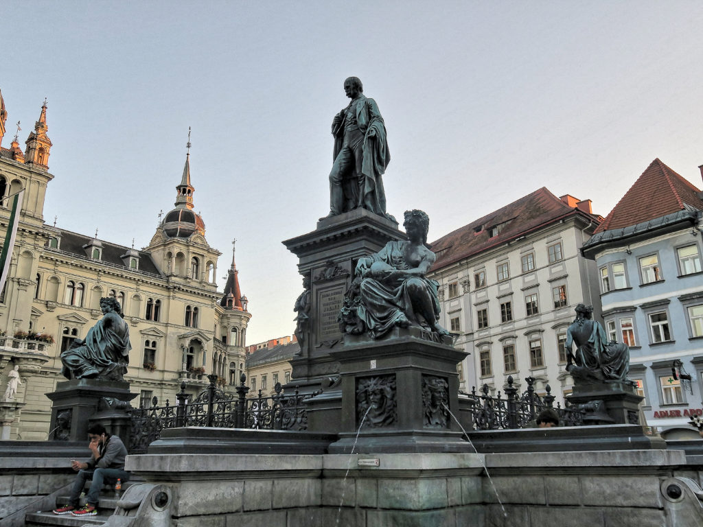 Erzherzog Johann Brunnen - The Archduke Johann Fountain at Hautplatz in Graz, - sculptor - Franz Pönninger