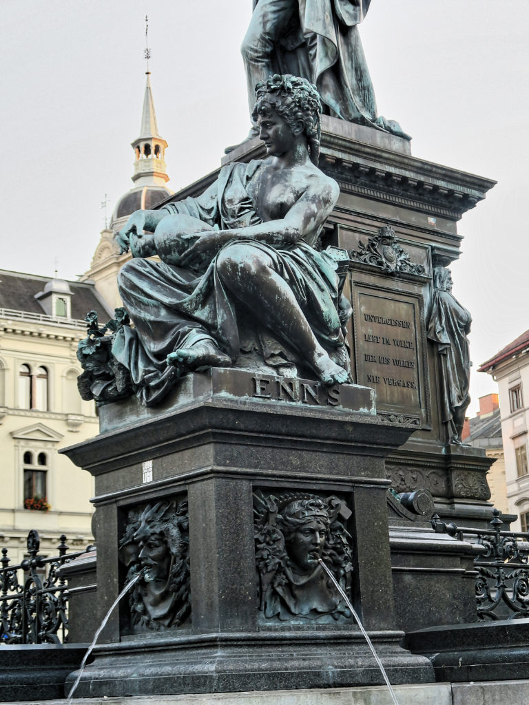 Erzherzog Johann Brunnen, The Archduke Johann Fountain at Hautplatz in Graz, Austria, sculptor - Franz Pönninger