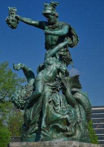 Johannes Pfuhl - bildhauer, - Perseus befreit Andromeda - Posen heute im Wilson-Park in Posen Genregruppe Bronze 1882