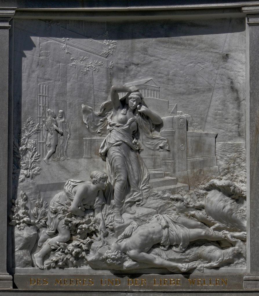 Wien - Grillparzerdenkmal - Relief Des Meeres und der Liebe Wellen - bildhauer: Rudolf Wyer