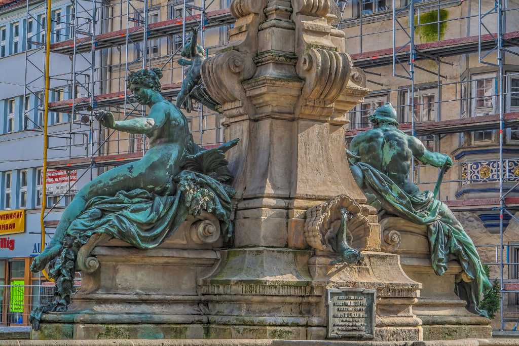 Angerbrunnen - Kaiser Wilhelm I & II Denkmal, Erfurt, Thueringen, - bildhauer Professor Heinz Hofmeister, (1851 Saarlouis – 1894 Berlin), Architekt Friedrich Heinrich Stöckhardt, (born August 14, 1842 in St. Petersburg, † June 4, 1920 in Woltersdorf), the monument was inaugurated 1890