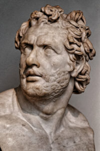 Polyphemus Group - Companion of Odysseus bust - British Museum, discovered 1860 in Tivoli, a gift by Caesar Tiberius to one of his Generals, re-sculpted as an additonal bust from one of the Polyphemus figures