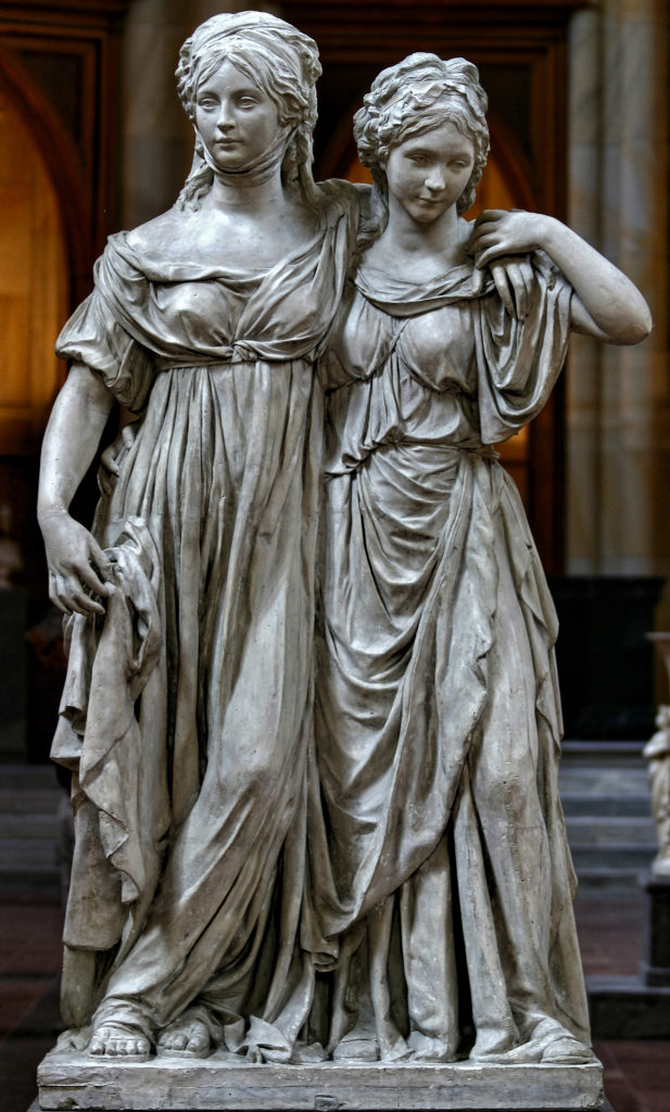The Prinzessinnengruppe (Luise of Mecklenburg-Strelitz and her sister Friederike) by Johann Gottfried Schadow, plaster, Friedrichswerder Church, Berlin, 1796 and 1797.