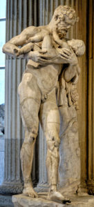 Silenus holding Dionysos, copy Greco-Roman of the school of Lyssipos - Hellenistic original, - Louvre Museum
