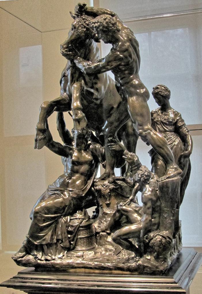 Skulptur eines Farnesischen Stiers von Adriaen de Vries, Bronze, 1614, ausgestellt im Herzoglichen Museum Gotha (Thüringen), Germany