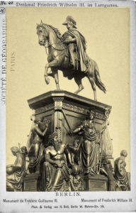 Denkmal König Friedrich Wilhelm III im Lustgarten, Mitte, Berlin 1863, sculptor, Albert Wolff. Spring 1869 the equestrian figure Friedrich Wilhelm III. was modeled, and was unveiled on June 16, 1871, the day of the return of the victorious troops from the Franco-Prussian War. Between autumn 1873 and 1875 Wolff created the base figures Klio, Borussia, religion, legislation, art and science. Except for the Rhine and Memel, which were produced in the Erzgießerei Munich, all bronze figures came from the art foundry Lauchhammer. They were unveiled on Sedan Day of 1876 (September 2).