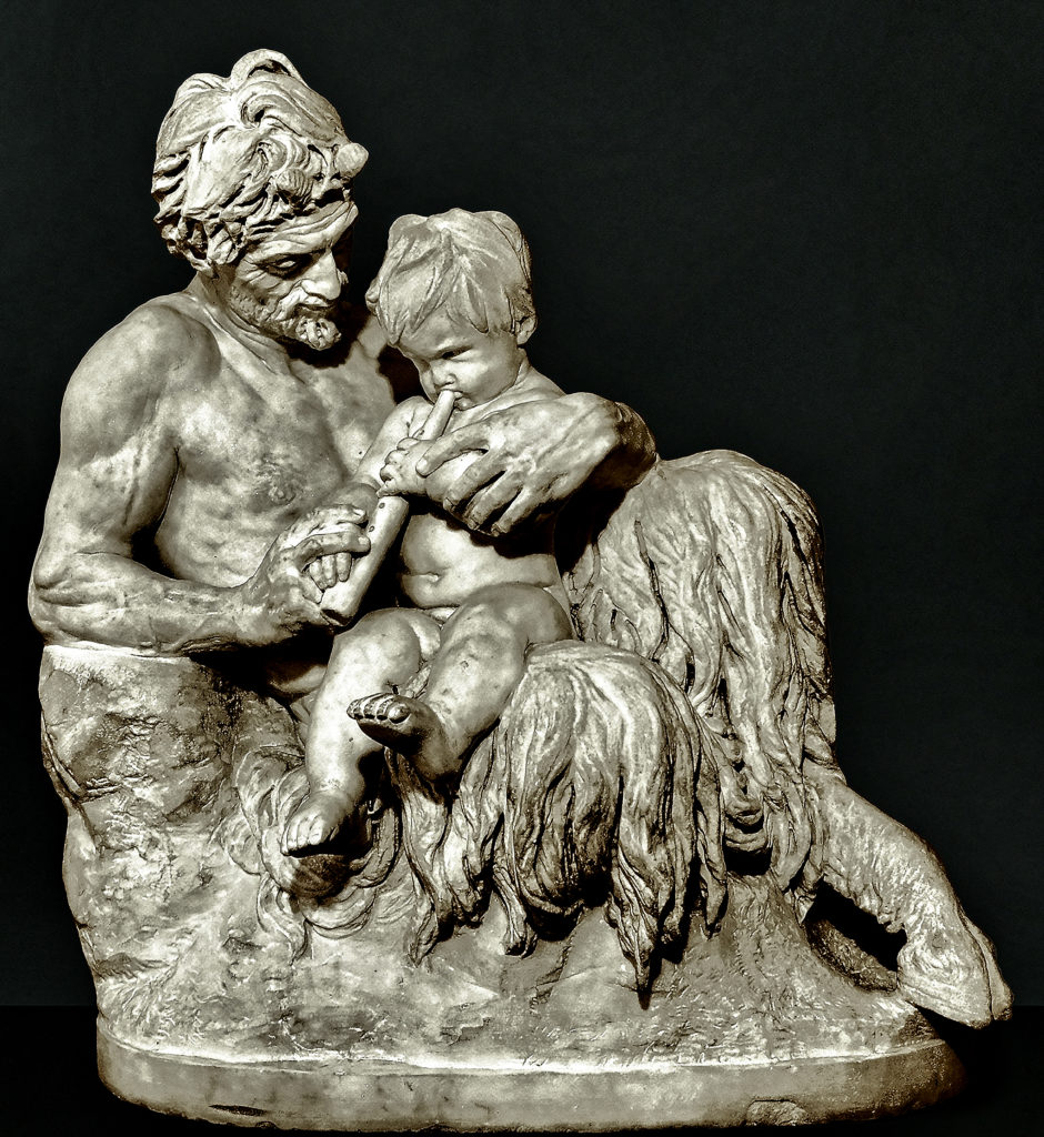 Rheinhold Begas - Pan als Lehrer Griesebach, Pan as a teacher of flute playing, 1858 / 68, Carrara marble, 70x67x40 cm, Begas Haus-Museum of Art and Regional History, Heinsberg, Germany, loaned by the Ernst von Siemens Art Foundation