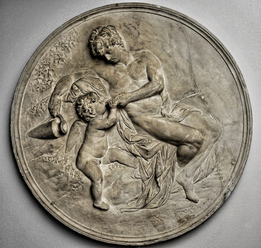 Rheinhold Begas - Trinkender Amor Kilger, The Watering Cupid, after models, 1867 - plaster, unmounted dm. 92 cm, Begas Haus Museum of Art and Regional History, Heinsberg, Germany